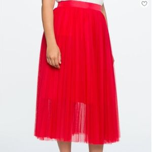 Eloquii Red Pleated Tulle Maxi Skirt - 20